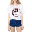 White Short Sleeve Diagram Print Crop T-Shirt
