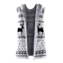 White Open-Front Deer Print Mohair Hoodie Cardigan