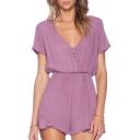 Purple Plain V-Neck Short Sleeve Button Romper