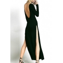 Black Round Neck Long Sleeve Split Maxi T-shirt Dress