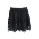 Black Lace Crocheted Mesh Cover Skirt