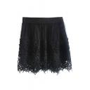 Black Lace Crocheted Mesh Cover Skirt