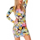 Long Sleeve Adventure Time Print Bodycon Dress