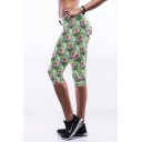 Green Rose Print Fitted Crop Workout Pants