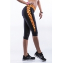 Black High Waist Fitted Leopard Print Workout Capris