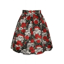 Rose and Skull Print Casual A-Line Skirt