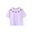 Purple Short Sleeve Cherry Embroidered Crop T-Shirt