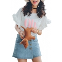 White Double Ruffle Layer Short Sleeve Oh Print T-Shirt