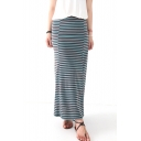 Stripes Print Maxi Tube Skirt