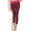 Red Texture Pattern Fashion Jeans