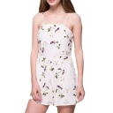 White Strap Floral Print Fitted Rompers