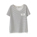 Stripe Patchwork Round Neck Laid Back T-Shirt