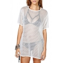 Cutout Checker Fishnet Short Sleeve Tunic Cover Up