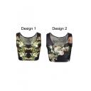 Black Sleeveless Floral Print Crop Tank