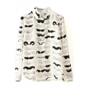 All Over Beard Print White Shirt