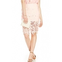 Pink Plain High Waist Lace Crochet Pencil Skirt