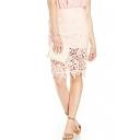 Pink Plain High Waist Lace Crochet Pencil Skirt