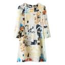 Cream Background Round Neck 3/4 Sleeve Abstract Print Dress