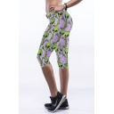 Purple ET Print Fitted Crop Workout Pants