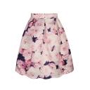 Pink Floral Print Tie Dye A-Line Midi Skirt