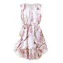 White Dipped Hem Peach Blossom Print Tanks A-line Dress