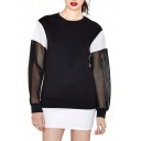Color Block Mesh Insert Long Sleeve Sheer Sweatshirt