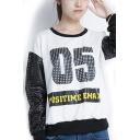 Letter Print Hollow Sleeve Round Neck Sweatshirt