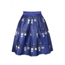 Blue Police Office Print Elastic Waist A-Line Skirt