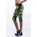 Black High Waist Green Leaf Print Workout Capris
