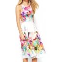 Colorful Floral Print Sleeveless Cutout Back Midi Dress