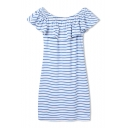 Striped Off The Shoulder Ruffled Fitted Dress