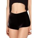 Plain Skinny Velvet Shorts