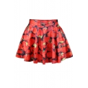 All Over Strawberry Print Skater Skirt