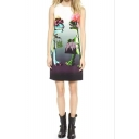 Dinosaur Print Round Neck Sleeveless Dress