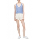 White High Waist Ripped Summer Denim Shorts