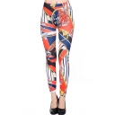 Geometric Graffiti Print High Waist Skinny Leggings