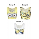 Sleeveless Minion Print Scoop Neck Crop Tank