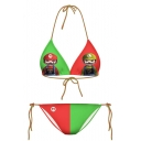Color Block Super Mario Print Halter Bikini Set