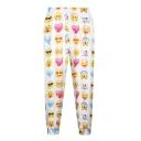 White Emoji Expression Print Elastic Waist Pants