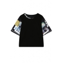 Letter Print Neck Cartoon Patter Sleeve T-Shirt