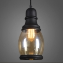 Mini Loft Amber Glass Black Finished Vintage LED Pendant