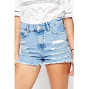 Light Blue High Waist Ripped Distressed Denim Shorts