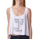 White Scoop Neck Cute Letter Print Loose Tank