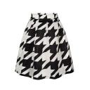 Mono Geometric Print Tie Dye A-Line Skirt
