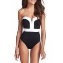 Color Block Bandeau Fitted One Piece Swimwear