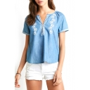 Blue Embroidered V-Neck Short Sleeve Denim Blouse
