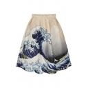 Spindrift Print Tie Dye A-Line Skirt