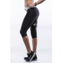 Black High Elastic Waist Crop Workout Capris