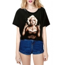 Round Neck Marilyn Monroe Print Crop T-Shirt