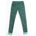 Green Texture Print Mid Waist Elastic Jeans